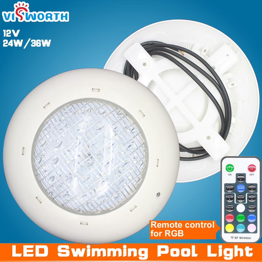 24W 36W สระว่ายน้ำไฟ led AC/DC 12V RGB + รีโมทคอนโทรลกลางแจ้ง IP68 กันน้ำใต้น้ำ Pond Light