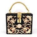 Роскошный Кристалл алмаза вырезать hollow Magic Box Мини Чемодан замок ретро мода дизайн щитка женщин сумка Черная сумка на плечо Z913
