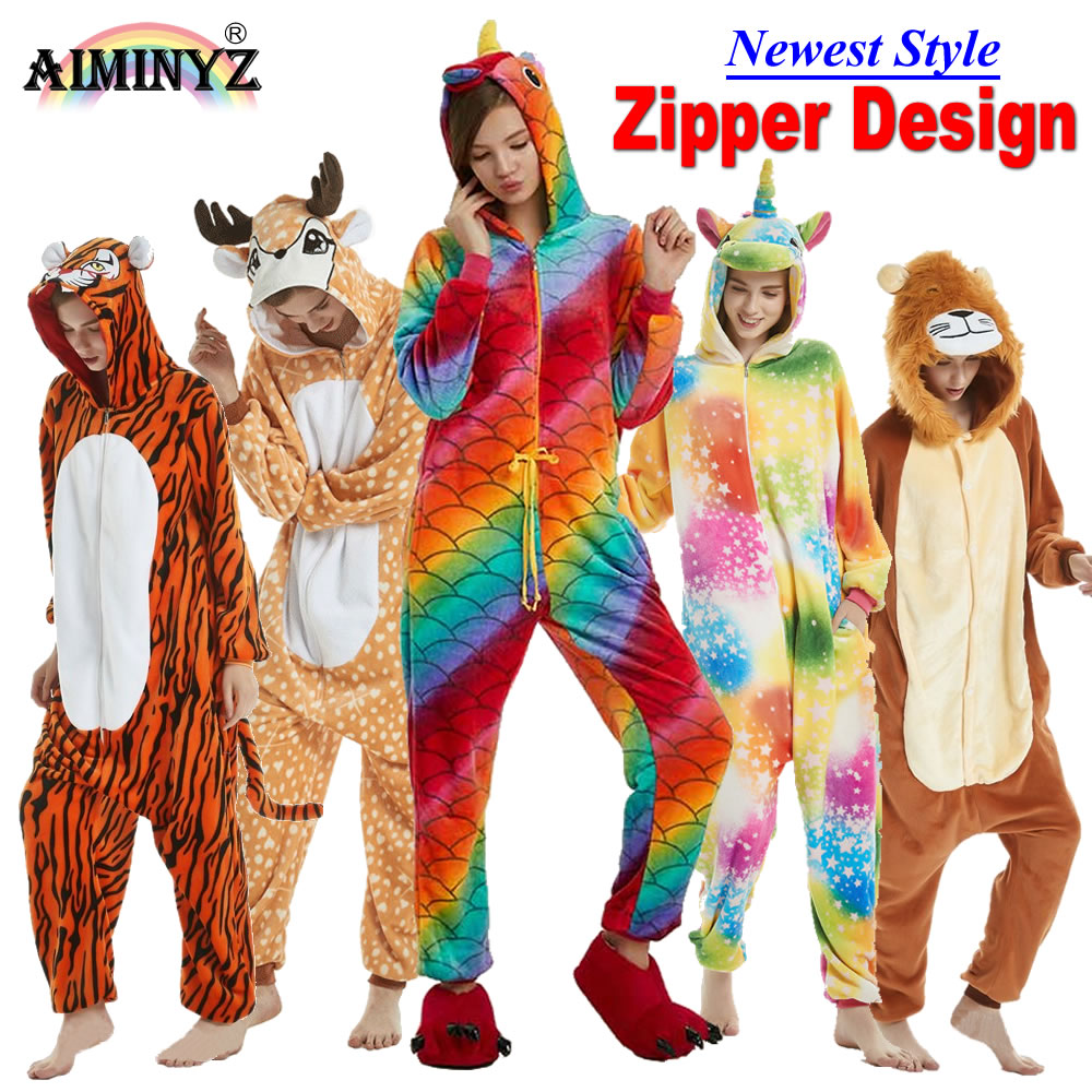 Aiminyz Wholesale Autumn Winter Unicorn Pegasus Stitch Panda Animal Flannel Pajamas Sets Cartoon Sleepwear For Adult Women Men #2