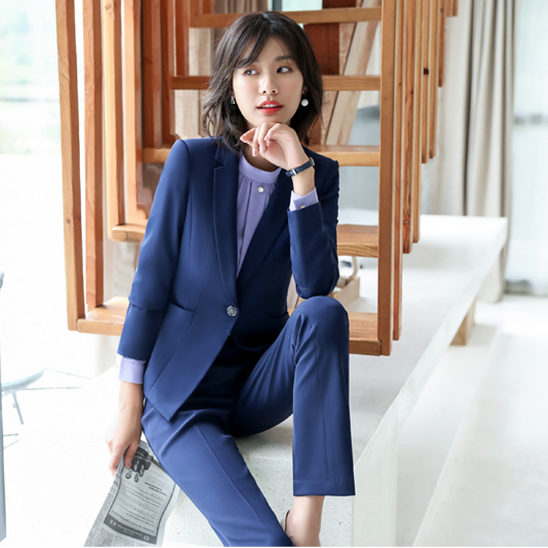 Business Ladies Suit 2019 New High Quality Fabric Fashion Solid Color Temperament Office Blazer Women Casual Trouser Suit