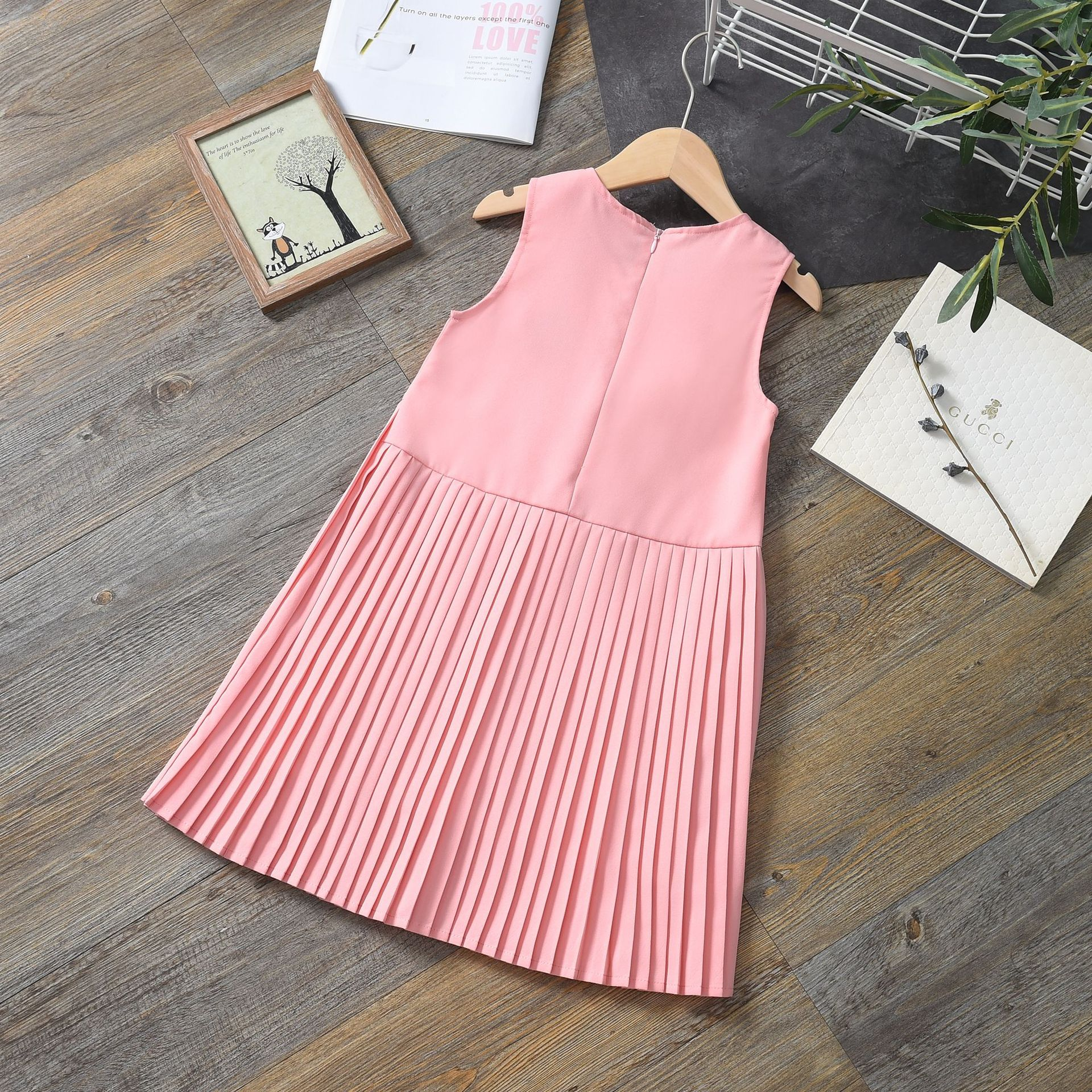 Spring Summer Autumn Girls Pleated Dresses Childrens Clothes Princess Birthday Party Stage Performance Dress Cotton Sleeveless 5