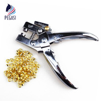 2 In 1 Hole Punch Eyelet Setting Plier Grommet Button Leather Cloth Card Shoe Bag Belt