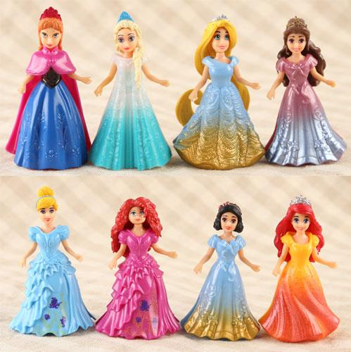 8pcs/lot Princess Anime Action Figures Ariel Snow Queen Elsa Anna Statue Magic Clip Princess Dolls Kids Toys 6 pcs set princess snow white cinderella action figures toys cute q version 9cm pvc statue anime collectible dolls kids gift
