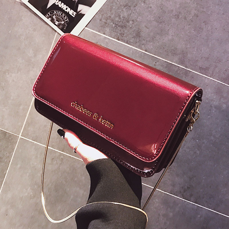 Fashion Simple Female Square Bag 2018 Patent Leather Women's Designer Handbag Flap Crossbody Messenger Bag with Golden Chain цена