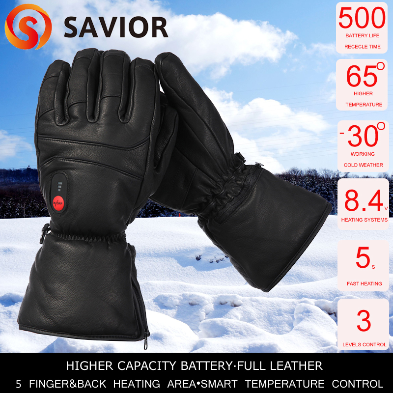 Savior full leather heated glove SHGS06B with 3 levels control for outdoor sports ski golf riding