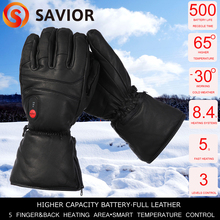 Savior full leather heated glove SHGS06B with 3 levels control for outdoor sports ski golf riding race gift AU,NZ,US,EU,UK plug