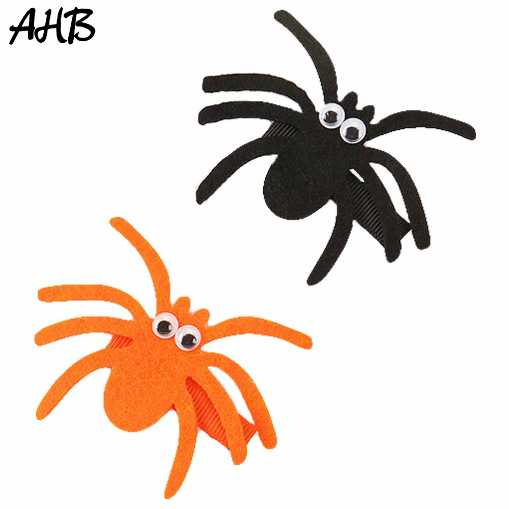 AHB 2pcs/lot Halloween Hair Bows Funny Spider Clips for Girls Handmade Felt Hairpins Kids Party Headwear Childrens Gift