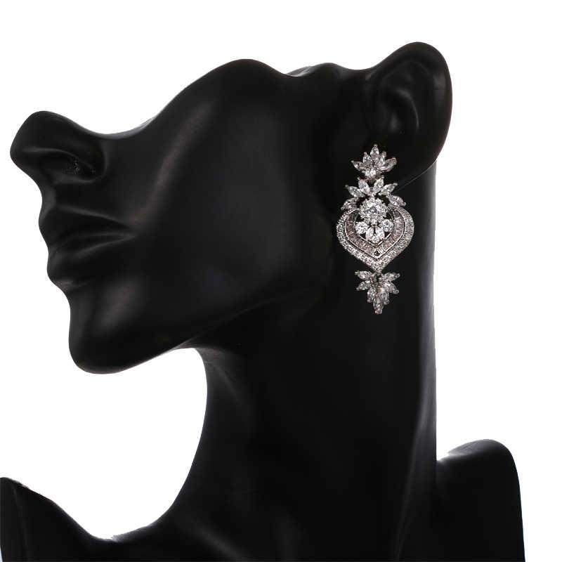 Женские серьги-подвески с большим цветком EMMAYA, роскошные длинные висячие серьги с блестящим кубическим цирконием, свадебные украшения для вечеринок