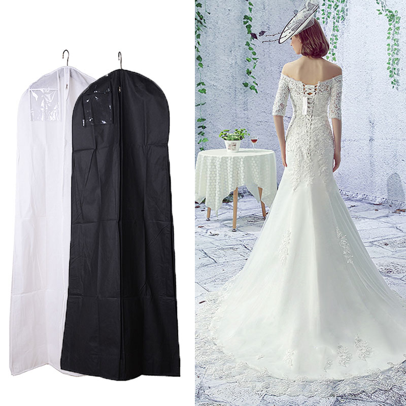 Black White Wedding Dress Cover Bridal Garment Long Clothes Waterproof Dustproof Storage Bag For Protesting In Bags From Home Garden