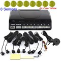 1Set round shape Car Parking Sensor 8 Sensors Buzzer Backup Radar Detector System Reverse Sound Alert 44 colors for option