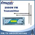 Бесплатная доставка FMUSER CZH618F-2000C 2KW Профессиональные FM передатчик Компактный Размер DSP DDS Broadcaster + 2 BAY FM-DV1 Диполь Антенна