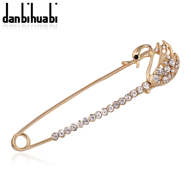 Safety Pin Brooch Jewelry Fashion Rhinestone Animal Swan Brooches For Women Scarves Corsage Sweater Collar Hijab Pins
