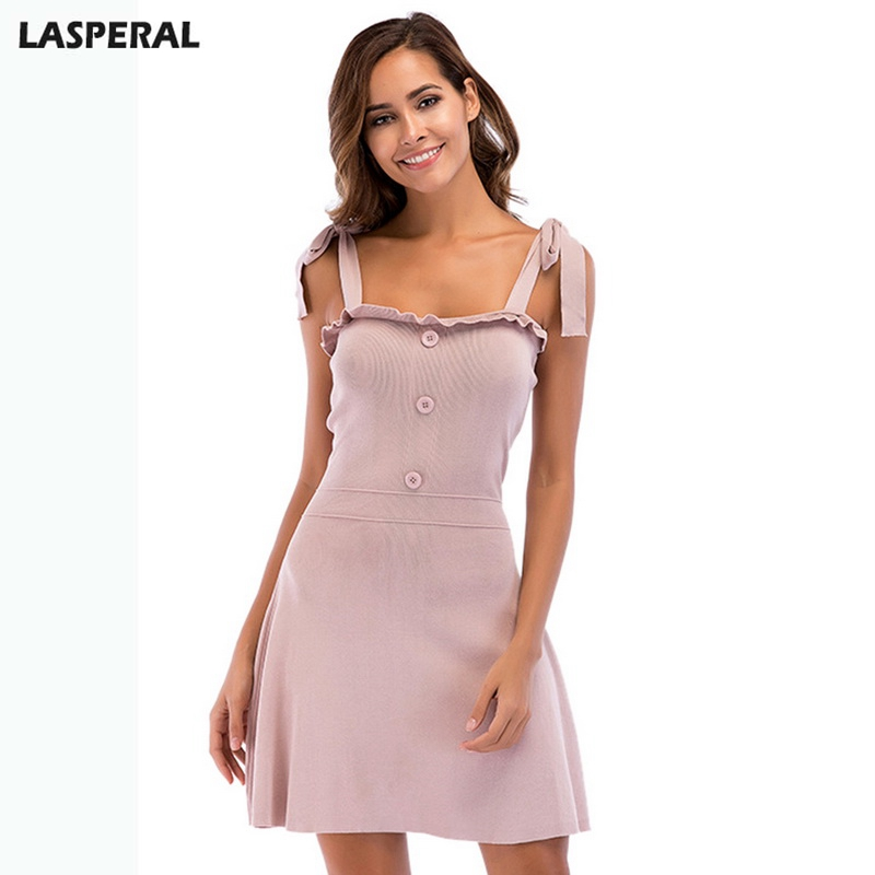 LASPERAL Summer Casual Women Knitted Dresses Sexy Slim Fit Bandage Sling Dress Fashion Summer Mini Dress Female Sundresses women sexy slim summer dress knitted bandage ruffles strap mini knitting dresses women club dresses