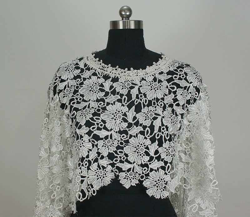 O Neck White Or Beige Lace Wedding Bolero De Renda Bridal Jackets 2015 One Piece Sleeveless Imported China (1)