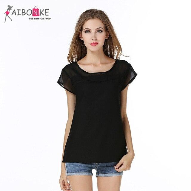 be26bbcf8f0b16 Kobiet czarny bluzki lato 2017 sex topy casual krótki rękaw szyfon koszula  praca kobiet nosić oficjalnym