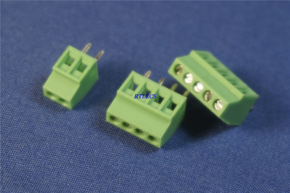 20pcs 2.54 Mm Pitch PCB Screw Terminal Blocks Connector 2 Pin 3 4 5 6 7 8 9 10 12 Poles Vertical Through Hole 6A 150V RoHS Reach