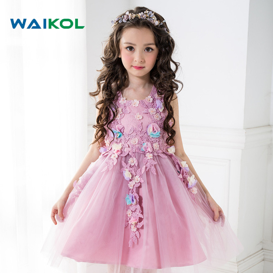 Baby Girls Flower Tutu Dress Wedding Birthday Party Tulle Dress Kids Purple Princess Clothes for children 100-150cm 3 11years kids clothes girls flower tutu dress children sequins party dress baby princess sequined swallow tail wedding dress