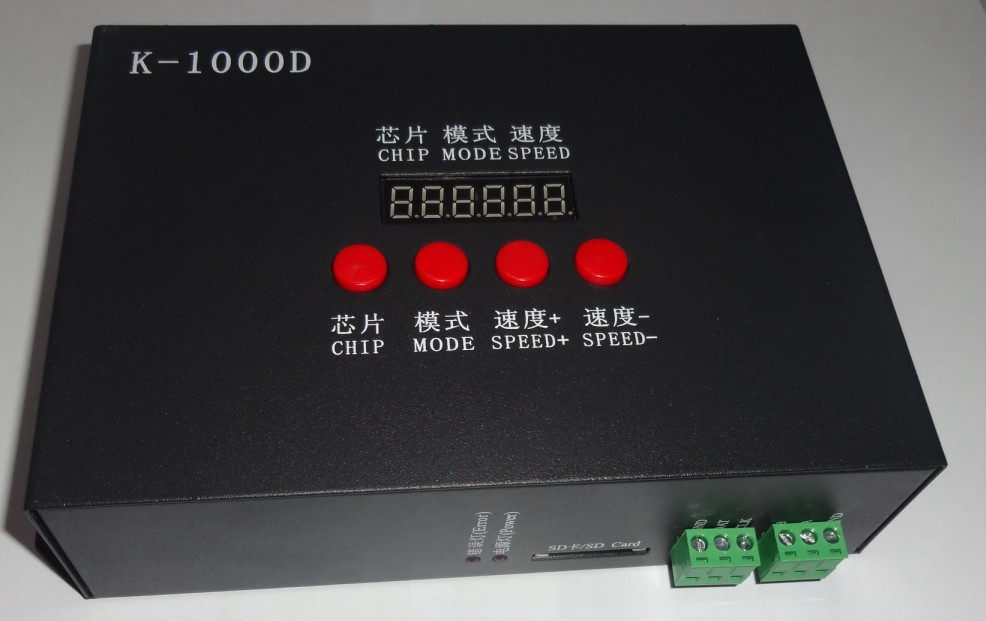 ФОТО K-1000D;DMX SD card pixel controller;support standard dmx512 chip/DMX512AP-N/WS2821A;drive1024pixel;with address writer function