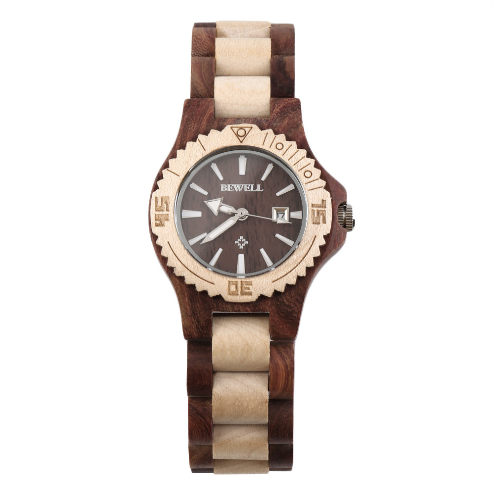 BEWELL Top Luxury Brand Women Wooden Watch Quartz Wood Analog Date Display Wrist watches Relojes Mujer W020A relogio feminino unistar luxury nature wooden wrist watches quartz father s day gift top men women watches relojes de madera relogio masculino