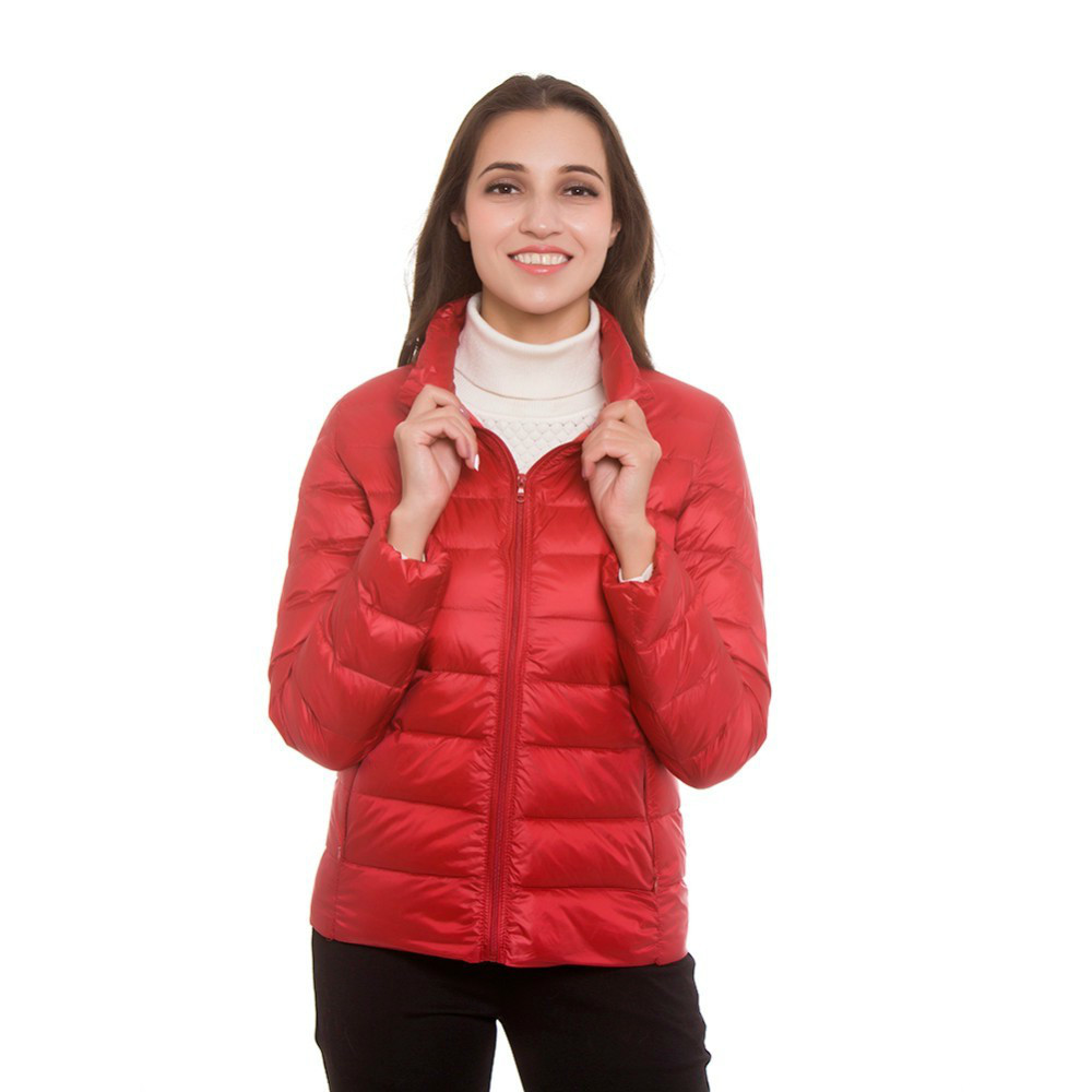 New Women's   Down   Jackets Autumn Winter Thin Stand Collar Zipper Korean Style Big Size Female   Down     Coats   Parkas Clothes For Woman