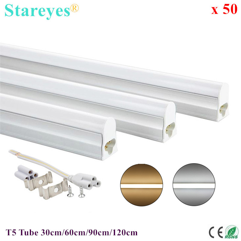 50 Pcs <font><b>T5</b></font> <font><b>LED</b></font> Tube 5W 9W 14W <font><b>18W</b></font> Fluorescent Integrated Bulb 30cm 60cm 90cm 120cm Wall Lamp Cabinet Kitchen Decoration Light image