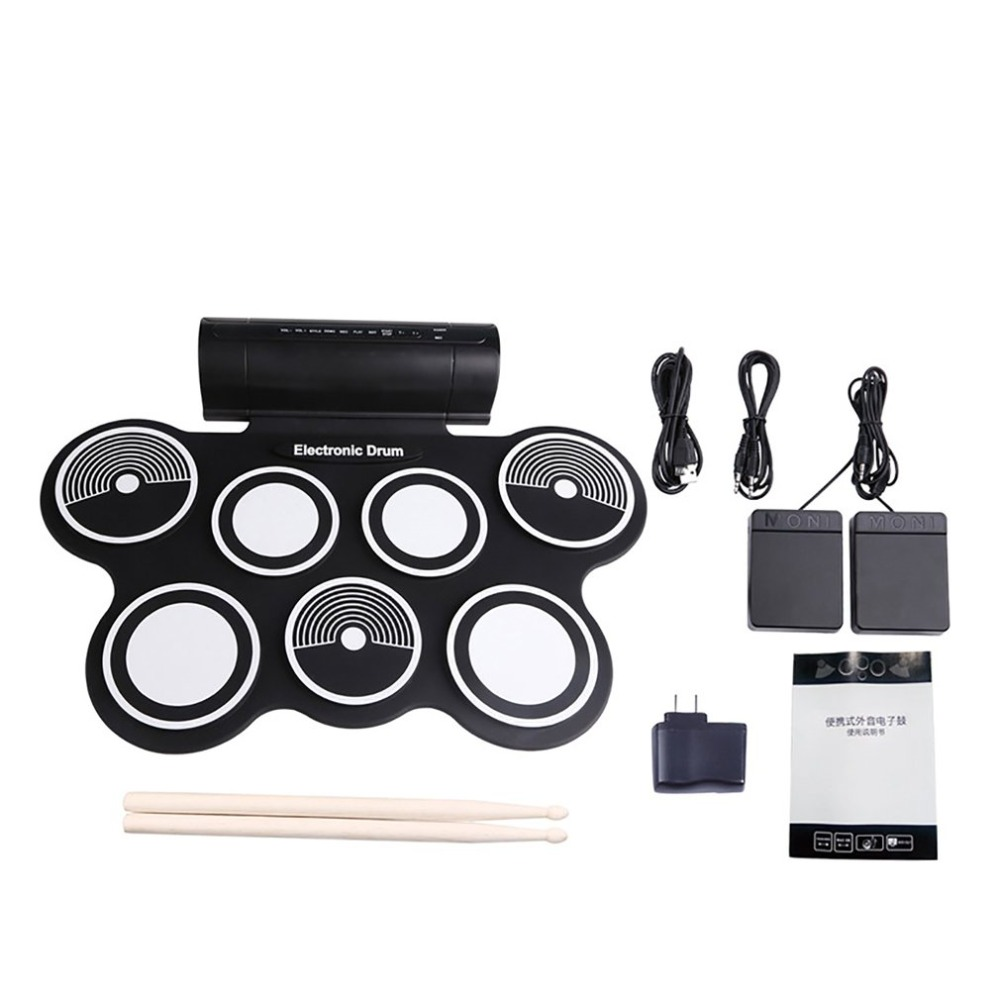 Digital Foldable Electric drum Pad Musical Instrument Electronic MIDI Drum set Silicon Roll-up Drum Kit Sticks цена в Москве и Питере