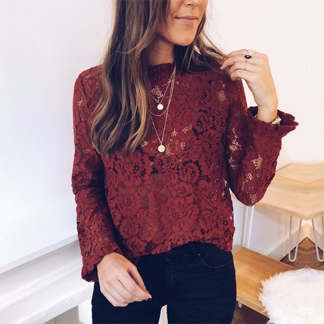 BEFORW 2019 Women Sexy Lace Hollow Out Perspective Blouse Shirt Elegant Flare Sleeve Black White Blouses Casual Floral Tops 2