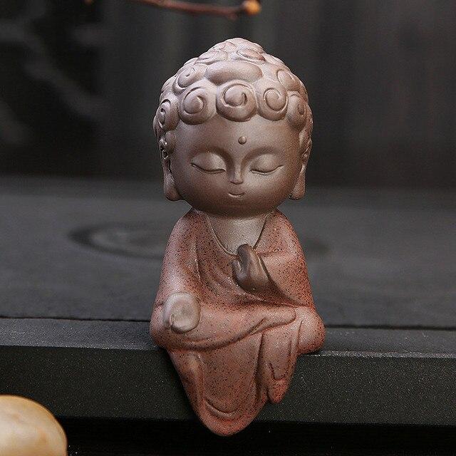 Ceramic Klin Monk Buddha Statues Buddhist Sculptures Tathagata Cute Budha home garden decoration buda table ornaments boutique 4