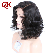QueenKing hair Lace Front Wig 180% Density Bob Wig Natural Wave Free Part Preplucked Brazilian Human Remy Hair