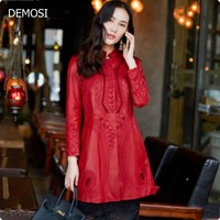 Red Dress Clothing Embroidery Slim Fit Womens 100 Real Leather High Quality Female Windbreakers Long Sleeved