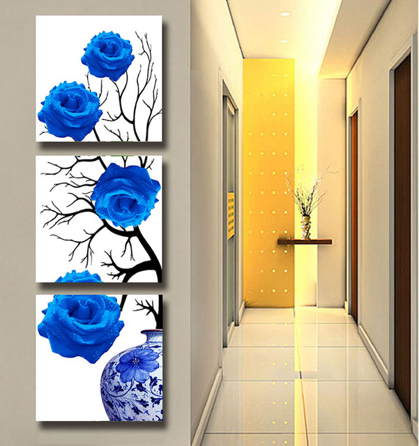 3 Panel Modern Wall Art Blue Rose Wall Pictures For Living Room ...
