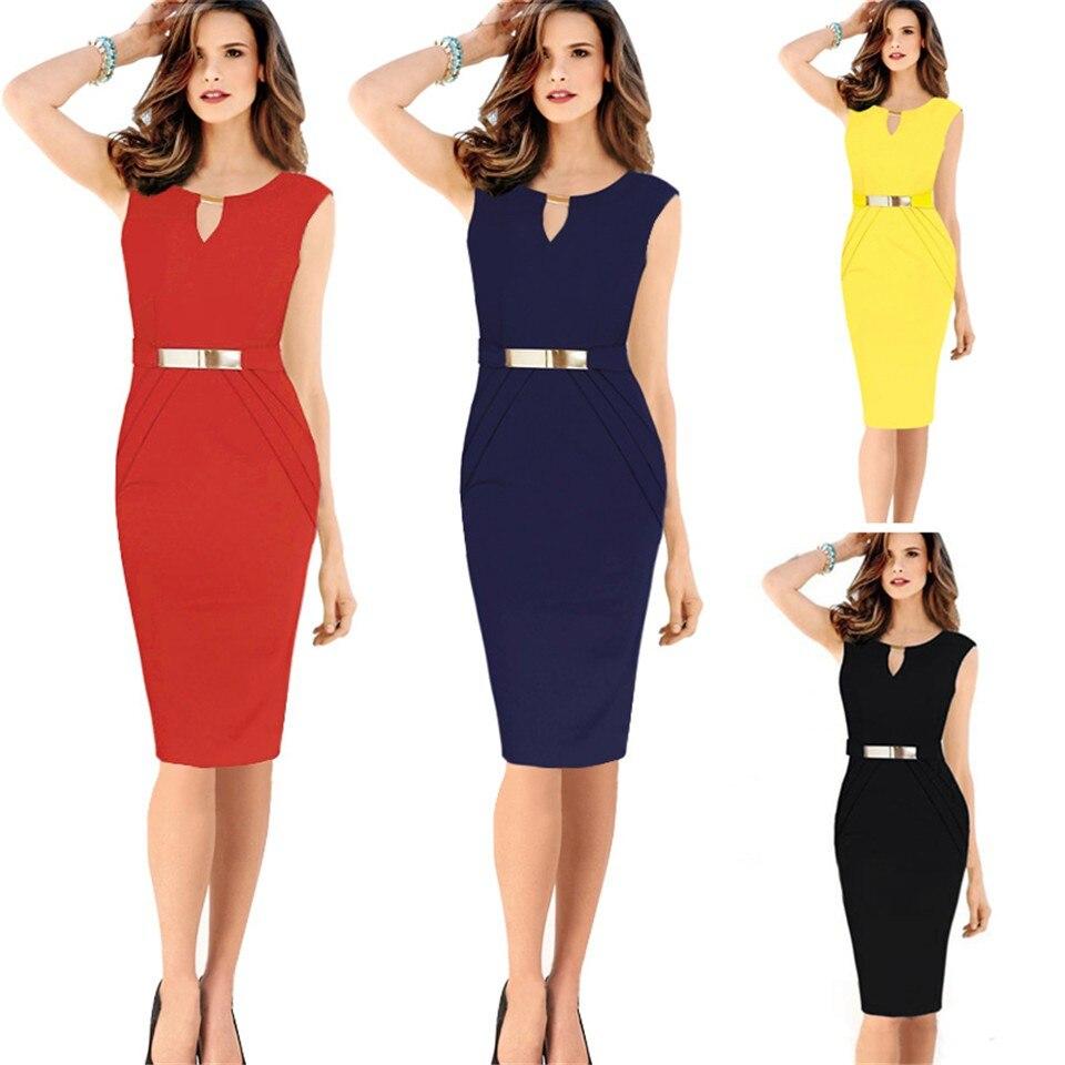 Black dress yellow sash - 2017 Summer New Fashion Women Plus Size Elegant Working Dresses Yellow Red Blue Black Hollow Out