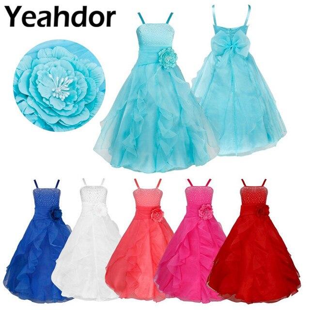 Dzieci dziewczyny bez rękawów Organza Tutu księżniczka kwiat sukienki dla dziewczynek lato ślub urodziny długa sukienka na imprezę pierwsza sukienka komunijna