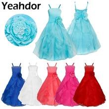 Kids Girls Sleeveless Organza Tutu Princess Flower Girl Dresses Summer Wedding Birthday Party Long Dress First Communion Dress