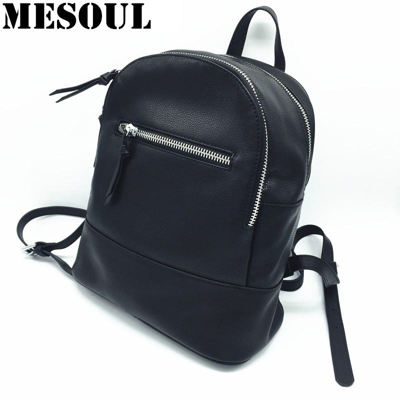 Fashion Women Backpack 100% Soft Genuine Leather Schoolbags For Girls European Style Black Shoulder Bag Casual Travel Backpack go meetting brand fashion women backpacks soft washed leather bag schoolbags for girls leisure bag mochilas travel backpack