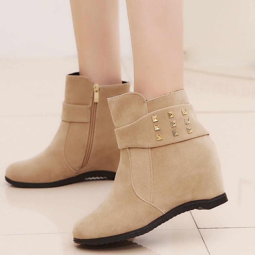 Martens platformu kadın çizmeler Kama Topuk çizmeler kadın ayakkabıları Artan platform rahat kış sıcak ayakkabı