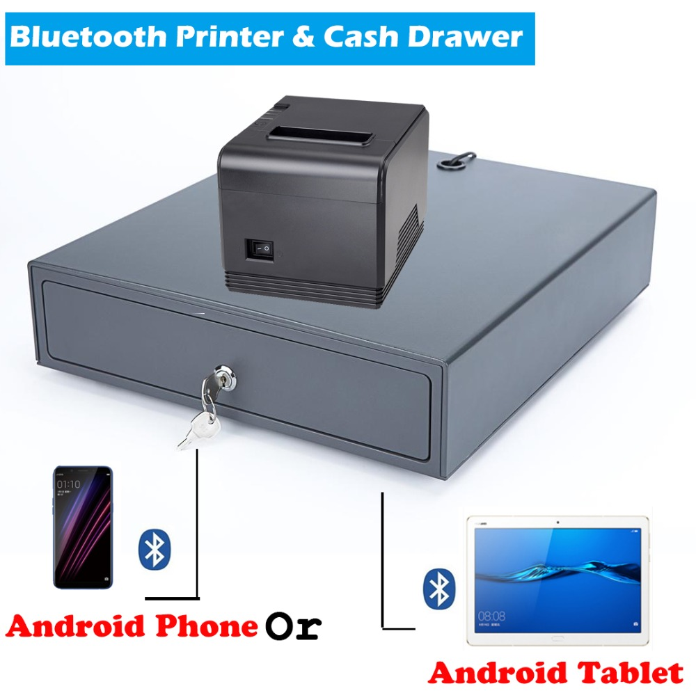 80mm Bluetooth Thermal Receipt Printer With Cash Drawer Support Android device connect