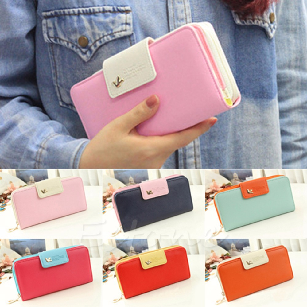 все цены на New Women PU Leather Buckle Long Purse Clutch Cute Button Wallet Bag Card Holder