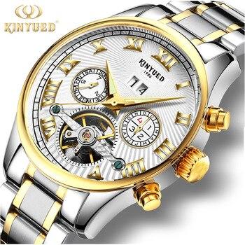 Автоматические часы KINYUED из нержавеющей стали, мужские водонепроницаемые механические часы Tourbillon, Роскошные наручные часы от топового брен...