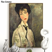 Woman In A Black Tie Modigliani Handmade Hand Painted Famous Oil Painting Reproduction Print Poster Canvas