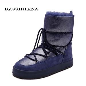 Image 3 - Botas de inverno sapatos mulher genuíno shearling snowboots preto branco azul 35 40 frete grátis bassiriana