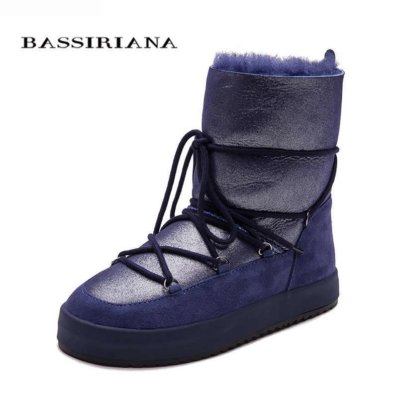 Kışlık bot ayakkabı kadın hakiki shearling snowboots siyah beyaz mavi 35-40 ücretsiz kargo BASSIRIANA