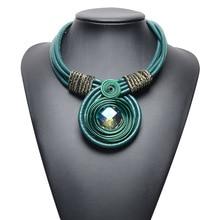 Европейская большая Хрустальная подвеска ожерелье s& Кулоны многослойный веревочный из искусственной кожи Макси ожерелье женское платье ювелирные изделия