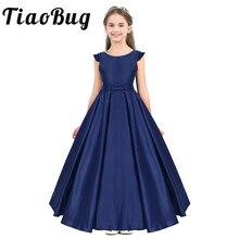 Tiaobug crianças meninas cetim ruffled bowknot vestido da menina flor princesa pageant festa de aniversário verão formatura formal vestido