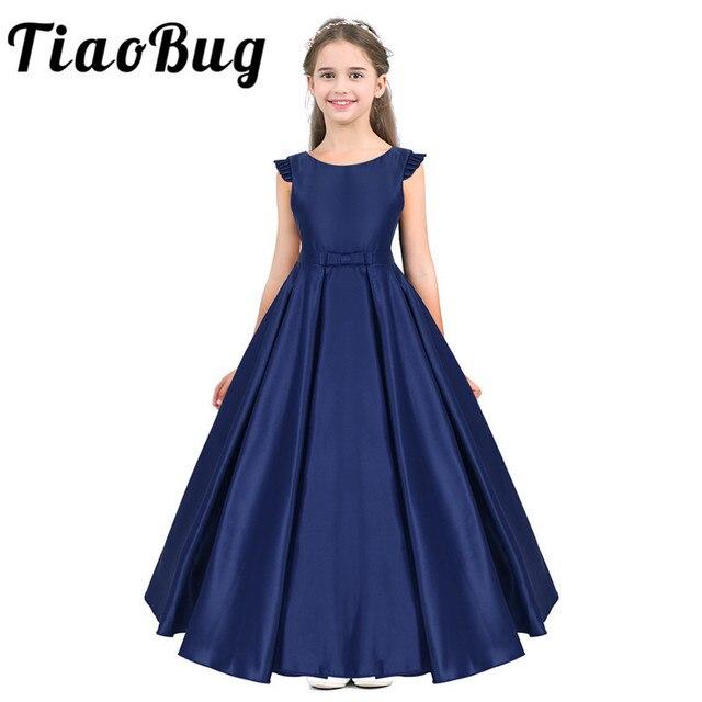 Tiaobug dzieci dzieci dziewczyny satyna potargane Bowknot kwiat dziewczyna sukienka księżniczka korowód urodziny letnia suknia wieczorowa