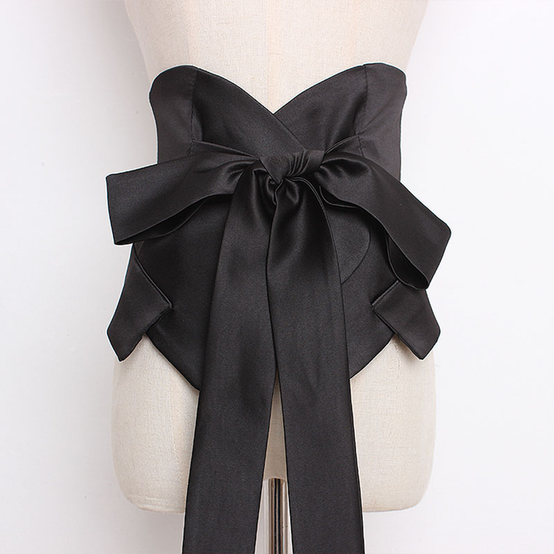 Front Tie Cummerbund Women Fashion Bandage Bow Tie Wide Belts For Women Dress Self Tie Corset Bow Strap Ladies Japanese Belt