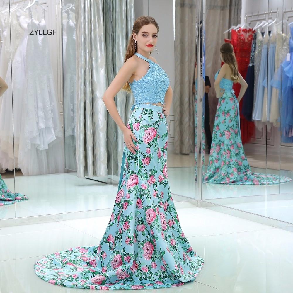 ZYLLGF Korean Style Prom Dress Mermaid Halter Neck Appliques Beaded ...