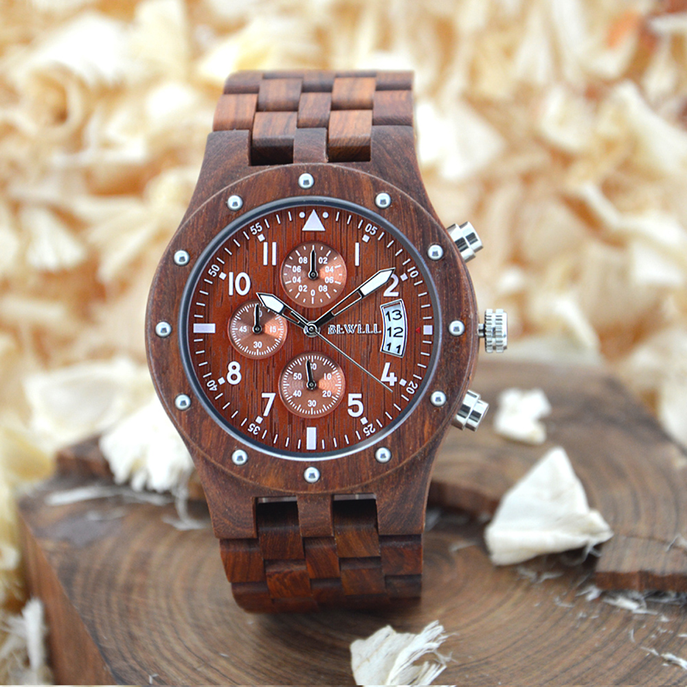 BEWELL Hot Sell Watch Men Quartz Wristwatch Natural Wood Watches Luxury Top Brand Wrist watch Three