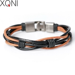 XQNI Brand High Quality Novelty DIY Weave Friendship Female Charm Bracelets Sporty Bandage Women Leather Bracelet