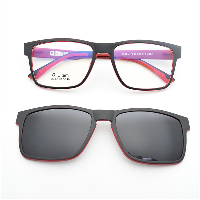 b5fa87efaf74dc nouvelle chaude ultem lunettes double cadre équipée avec M...US  49.80 2016  magnétique clip sur lunettes de soleil ...